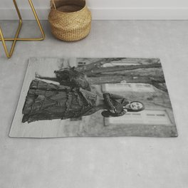 The Girl and the Big Bad Wolf black and white photograph Rug