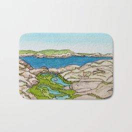 Peggy's Cove Watercolour Painting Backside Bath Mat