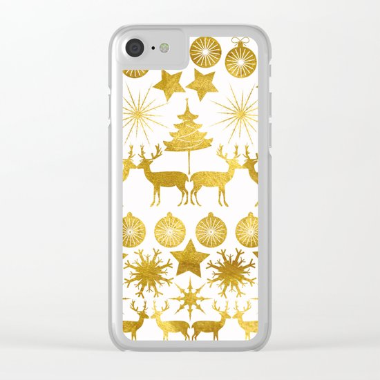Gold Christmas 04 Clear iPhone Case