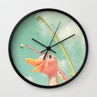 ostrich Wall Clocks featuring Ostrich by Cassia Beck