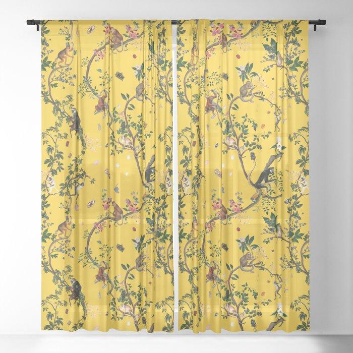 Monkey World Yellow Sheer Curtain
