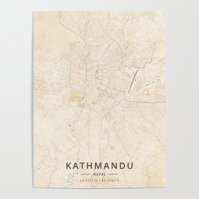 Kathmandu, Nepal - Vintage Map Poster by designermapart on bhaktapur nepal map, himalayas map, kangchenjunga nepal map, valley map, tibet map, nepal country map, pashupatinath temple, damak jhapa in map, nepal regional map, kabul map, india nepal map, calcutta india map, dhaka bangladesh map, seoul south korea map, bhutan map, mount everest, world map, new delhi, google earth nepal map, pokhara nepal map, kuala lumpur, dhankuta nepal map, city map, mount everest map,