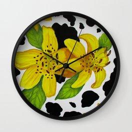 Floral cow print Wall Clock