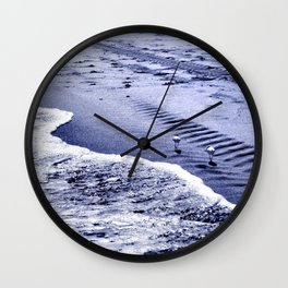 two blue sandpipers Wall Clock