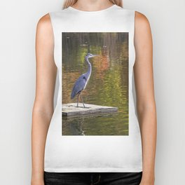Blue Heron In Autumn Biker Tank