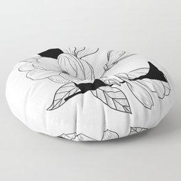 Monogram Letter L with Magnolia Line Art  Floor Pillow