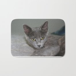 Beautiful Portrait of A Grey Russian Cross Tabby Cat  Bath Mat
