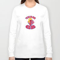british flag Long Sleeve T-shirts featuring hand hold flaming torch british flag retro by retrovectors