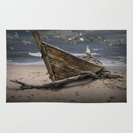 Gulls Flying over a Shipwrecked Wooden Boat Rug