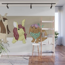Hares In Wigs Wall Mural