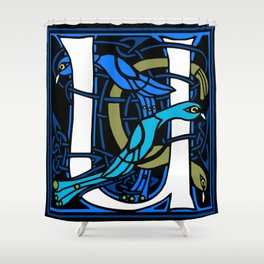 Celtic Peacocks Letter U Shower Curtain