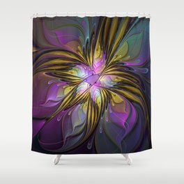 Abstract Art, Coloful Fantasy Flower Fractal Shower Curtain