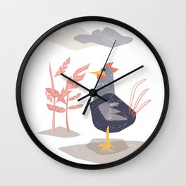 Lonely chicken roster in matisse style  Wall Clock
