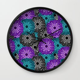 Dahlia Multicolored Floral Abstract Pattern Wall Clock