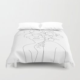 Minimal Line Art Woman with Orchids Duvet Cover