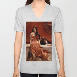 Classical Masterpiece; Circe The Temptress by Charles Hermans Unisex V-Neck