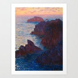 Claude Monet Impressionist Landscape Oil Painting Sunset At Sea Cliffs Ocean Cliff Landscape Art Print