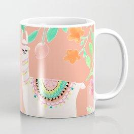 Llama in a floral frame Coffee Mug