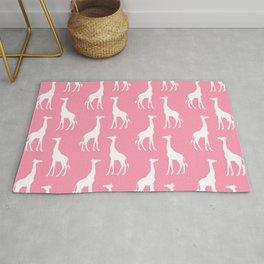 Cute Pink & White Giraffe Pattern  Rug