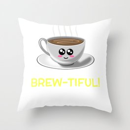 May Your Morning Be Brew tiful Cute Coffee Pun Throw Pillow