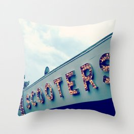 Scooters ~ vintage carnival sign ~ lights Throw Pillow