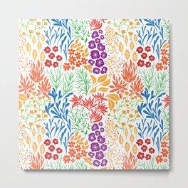 Floral doodles white Metal Print