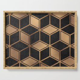 Charcoal and Gold - Geometric Textured Cube Design II Serving Tray