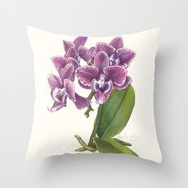 Purple Phalaenopsis Orchid Throw Pillow