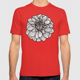 Dahlia in black and white T-shirt