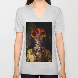 Day of the Dead Skeleton Lady with Beautiful Red and Orange Floral Crown Unisex V-Neck