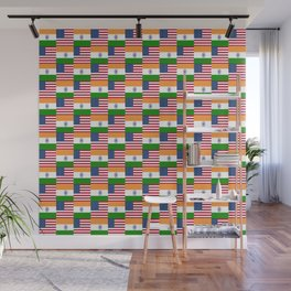 Mix of flag : usa and India Wall Mural