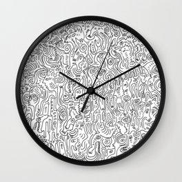 Graffiti Black and White Pattern Doodle Hand Designed Scan Wall Clock