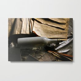 bottle and books Metal Print