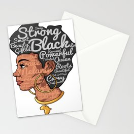 Melanin Afro Motivation Woman Stationery Cards