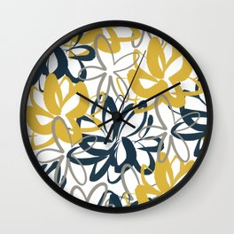 Lotus Garden Painted Floral Pattern in Light Mustard Yellow, Navy Blue, and Gray on White Wall Clock