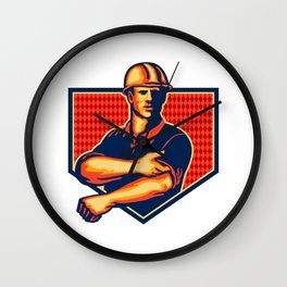 Construction Worker Rolling Up Sleeve Retro Wall Clock