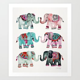 Elephant Collection – Turquoise & Coral Palette Art Print