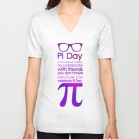 pi V-neck T-shirts featuring Pi Day by Square Lemon