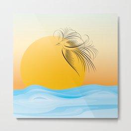 Flying bird - calligraphy Metal Print