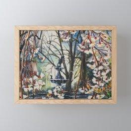 Fountain Square Park Spring in Blues Framed Mini Art Print