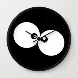 Cartoon Eyes, Googly Eyes - Black White Wall Clock
