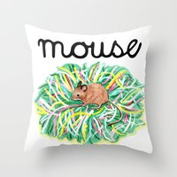 theatre Throw Pillows featuring Theatre Mouse by Rebecca Rogers
