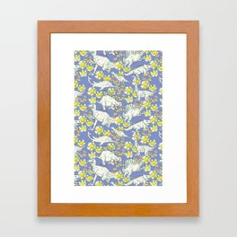 Dinoflowers Bleu Framed Art Print