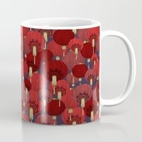 chinese Mugs featuring Chinese Lanterns by Deborah Panesar Illustration