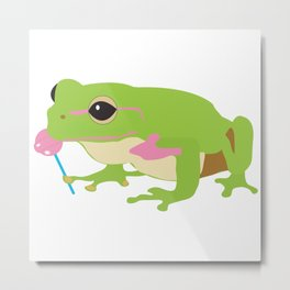 Frog Licking a Pink Lollipop Metal Print