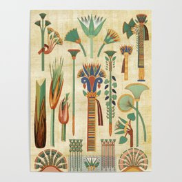 Egyptian paper papyrus hieroglyphs Poster