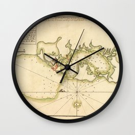 Map Of Cartagena 1790 Wall Clock