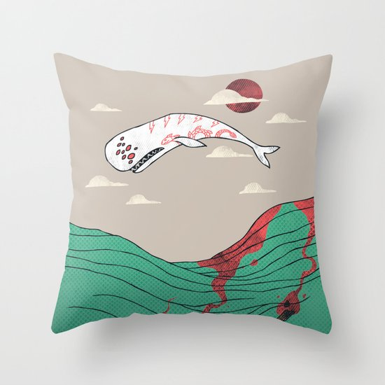White Whale Throw Pillow