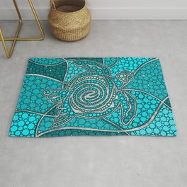 Turtle Aboriginal Dot Art Teal and silver Rug