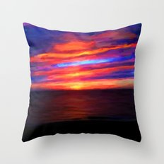 Sunset by the sea - Painting Style Throw Pillow